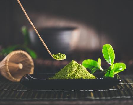 traditional culture: Matcha powder. Organic green matcha tea ceremony