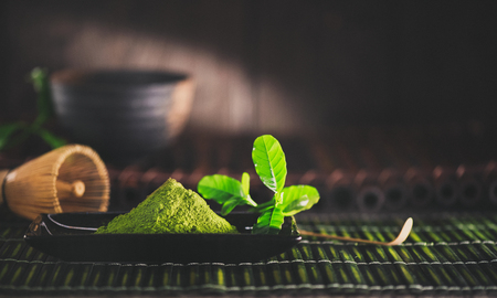 Matcha powder. Organic green matcha tea 版權商用圖片
