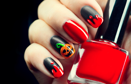 Idées de conception de manucure de vacances Halloween. Halloween nail art Banque d'images