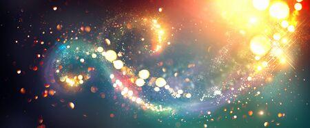 Christmas background. Golden glittering stars swirls over black background