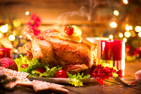 Christmas holiday dinner. Served table with roasted turkey Banco de Imagens