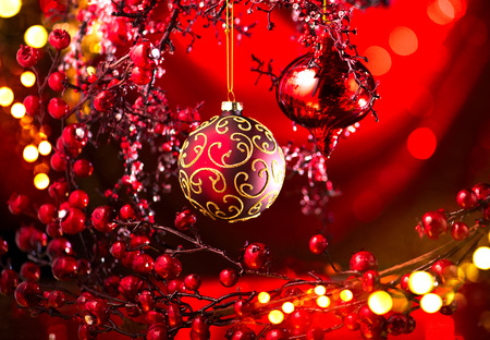 Christmas and New Year red decoration. Abstract blinking holiday background