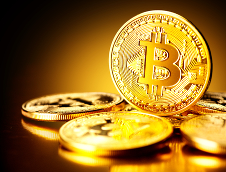 Bitcoin crypto currency. BTC coins. Blockchain technology, Bitcoin mining concept Stock Photo