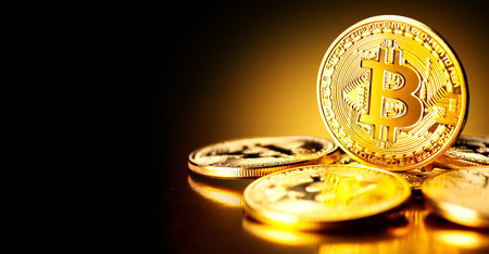 Bitcoin crypto currency. BTC coins. Blockchain technology, Bitcoin mining concept Stockfoto