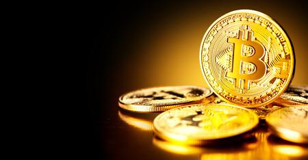 Bitcoin crypto currency. BTC coins. Blockchain technology, Bitcoin mining concept Foto de archivo
