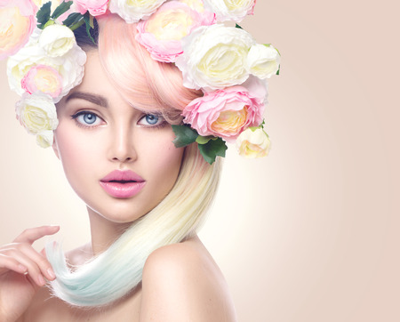 Spring woman portrait beauty model girl with colorful flowers beauty model girl with colorful flowers wreath and colorful hair flowers mightylinksfo