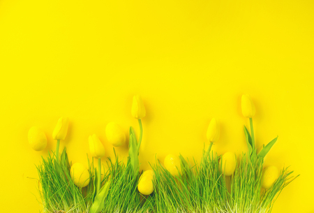 Easter background. Bright yellow eggs and vivid spring blooming tulips and fresh grass over yellow background. Easter backdrop Stock Photo
