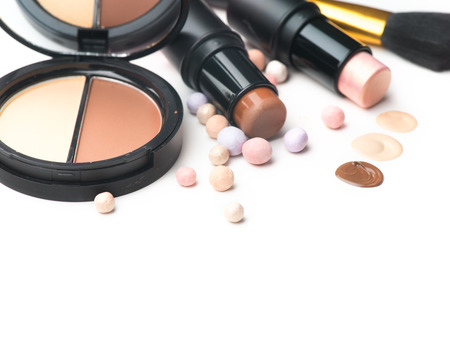 Makeup contour products, make up artist tools. Face contouring make-up. Highlight, shade, contour and blend. Trendy glamour makeover Stock Photo