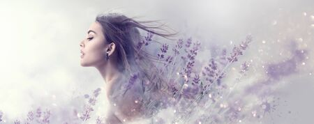 Beauty model girl with lavender flowers . Beautiful young brunette woman with flying long hair profile portrait. Fantasy watercolor Banque d'images - 126609019