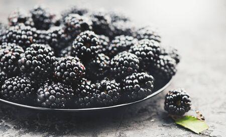 Blackberry close up. Fresh ripe organic blackberries in a bowl closeup on grey background 스톡 콘텐츠