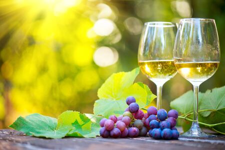 White Wine in wineglass. Romantic Dinner Outdoor.