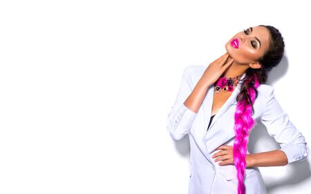 Fashion wear look style, Beauty sexy model girl in trendy white blazer bright make-up, braided purple hair, isolated on white Stock Photo