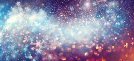 Christmas colorful vintage background. Holiday glowing backdrop. Defocused Background With Blinking Stars. New Year Blurred pastel Bokeh, Abstract Colorful bright glowing design. Party lights
