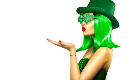 St. Patrick's Day leprechaun model girl in green hat