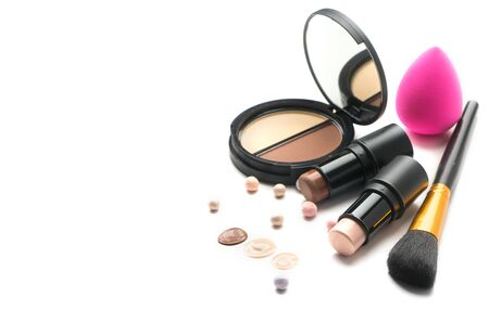 Make-up. Face contouring make up, contour. Highlight, shade, blend. Makeup Products, make up artist tools. Foundation, concealer. Trendy glamour makeover product set, isolated on white background.