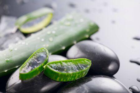 Aloe Vera slices and spa stones closeup. Aloevera plant leaf gel, natural organic renewal cosmetics, alternative medicine. Skin care concept. Skincare. Moisturizing. On black background Zdjęcie Seryjne