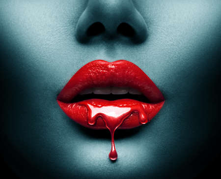 Red Paint dripping on lips
