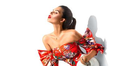 Beauty fashion model girl isolated on white Stock Photo