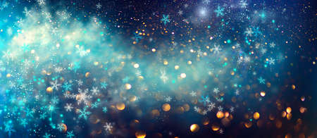 Winter Christmas and New Year background, backdrop with glowing blue stars, snowflakes, holiday garland, magic. Abstract Glitter Blinking sparks Standard-Bild