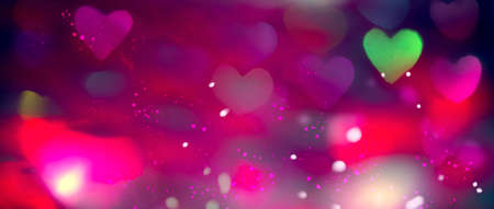 Valentine's Day Background. Holiday Blinking Abstract Valentine Backdrop with Glowing colourful Hearts. Heart Shape Bokeh. Love concept. Colorful Art design.