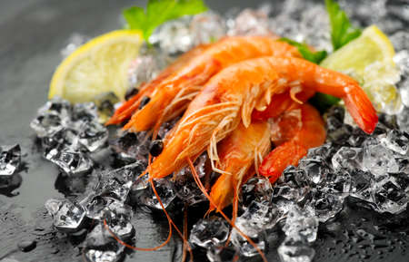 Shrimps. Fresh Prawns on a Black slate Background. Seafood on crashed ice served with herbs, dark backdrop. Served food, preparing healthy food, cooking, diet, nutrition concept