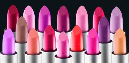 Lipstick colourful tints palette. Fashion Various colors Lipsticks Stock Photo