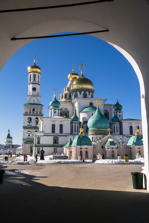 The Resurrection Cathedral in The New Jerusalem Monastery of the 17th century after large scale renovation. Moscow suburbs, Russia.