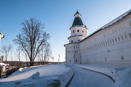 The fortress walls with towers around the New Jerusalem Monastery of the 17th century. Istra, Moscow suburbs, Russia. Editorial