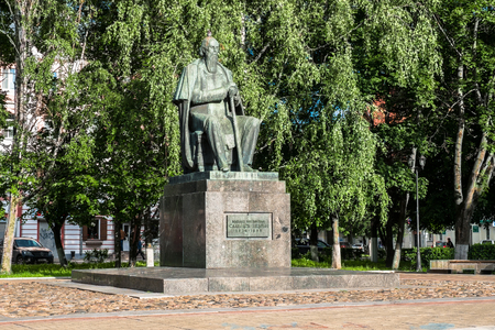 Russia, Tver, July,19.2017: The first monument to the major Russian satirist of the 19th century Mikhail Saltykov-Shchedrin, erected in 1976.