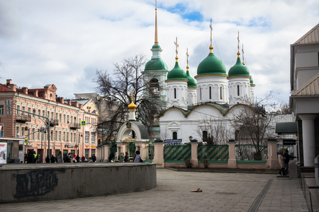 MOSCOW, RUSSIA, APRIL,7.2018: Orthodox Church of the Life-giving Trinity in the historical Sretenka street.