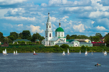 Monastery of St.Catherine, built in the 18th century in the picturesque nook in the city of Tver, far from the downtown on the confluence of rivers Tvertsa and Volga. Russia.