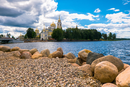 Monastery of St.Reverend Nilus on the Stolobny island (Nilova pustyn), Tver region. Russia. View from the Peninsula Svetlitsa.