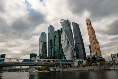 MOSCOW, RUSSIA - OCTOBER 24, 2017: Modern skyscrapers of the Moscow International Business Centre MIBC on the Moscow river embankment.