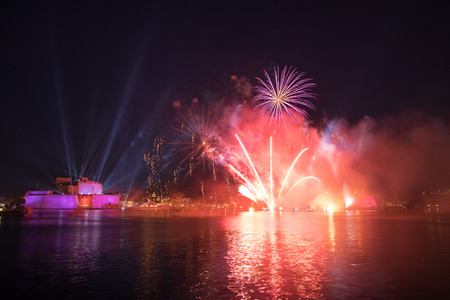 seas: Fireworks over Grand Harbor during The Pagent of the Seas, June 2016. Editorial
