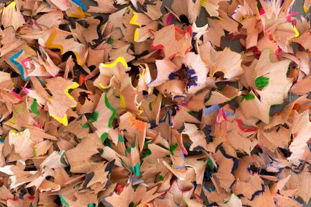 sharpenings: Close up of colorful wooden pencil sharpenings