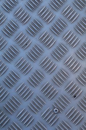 topdown: Non-slip industrial steel metal flooring, shot from above, flat lighting.