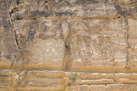 troy: Globerigina Limestone walls surrounding Valletta the capital of Malta, Europe.    huge stone walls built on-top of the Sciberras Peninsula.  Backgrounds for many film sets, including Gladiator, Troy, World War Z and Assassins Creed. Stock Photo
