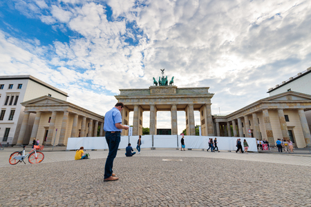 Tourists at Bradenburg Gate, on Summers day, Berlin, Germany, Europe June 2018