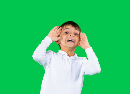 The mischievous boy screams at the camera with all his might. Photo on a green background.