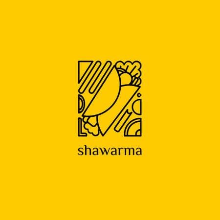 Modern Shawarma Kebab Logo Line Art Style Logo