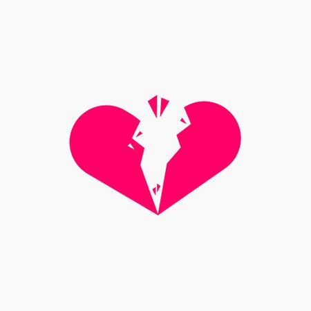 Broken Heart Love Crack Illustration Vector Template