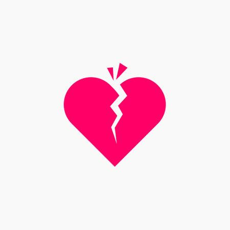 Single Broken Heart Love Crack Illustration Vector Template Illustration