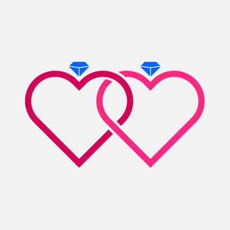 Double Couple Ring Love Diamond Illustration Vector Template Illustration