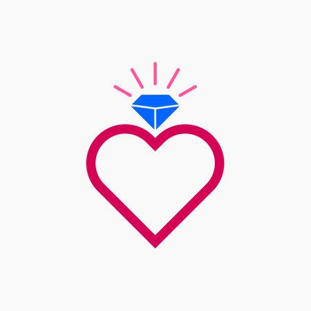 Single Ring Love Diamond Illustration Vector Template