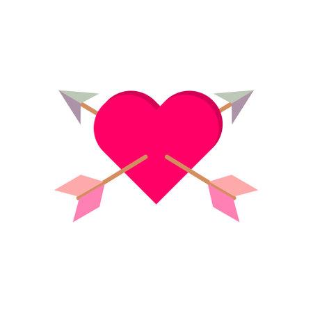 Heart Love Double Arrow Illustration Vector Template