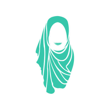 Beautiful Muslimah Hijab Woman Silhouette Illustration Vector Template