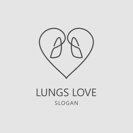 Heart Love Lung Care Healthy Logo Vector Template suitable for Lungs Care Community, Lungs Specialist, Clinic and other Healthy Unit