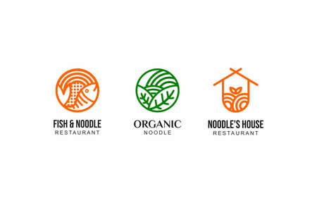 Modern Line Noodle Ramen Restaurant Logo Vector Template suitable for food and beverage business company
