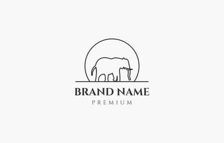 Elephant and Sun Outline Logo Vector Template suitable for company concern on animal product or service