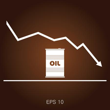 De olieprijs plat vector illustratie. Vat. Stock Illustratie